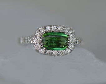 ONE-OF-A-KIND: Natural Green Tourmaline and Diamond Ring (14K Matte White Gold)