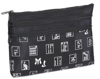 Mah Jongg 3 Zipper Purse for Mah Jongg Card, Black Designer Style