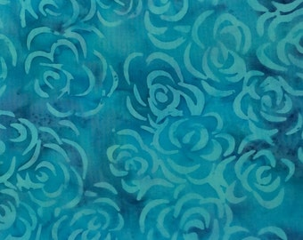 Floral Dahlia Batik Fabric - Artisan Indonesian from Majestic Batiks - L16 SP Blue, Priced by the 1/2 yard
