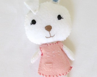 Felt Bunny Rabbit Plush Toy for children in white wool blend felt.
