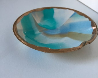 Jewelry Dish/Bauble Bowl (teal, blue, gold, white)