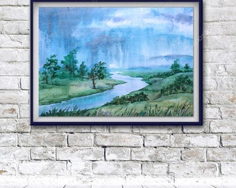 watercolor painting, art print, original painting, Rain, printable wall art, watercolor landscape, Original art, summer painting, summer