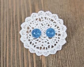 Blue Glitter Stud Earrings