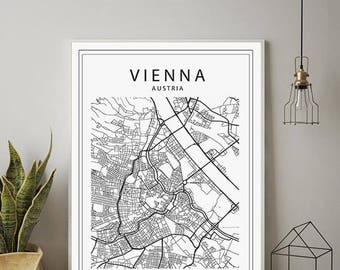 vienna map print maps print minimalist wall art printable art instant download austria map black and white map wien vienna city map
