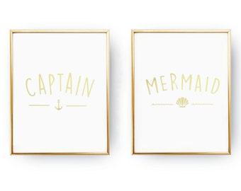 Captain Print, Mermaid Print, Real Gold Foil Print,Bedroom Decor, Wall Art, Wall Decor, Couple Print, Fashion Print, Set Of 2 Bedroom Prints