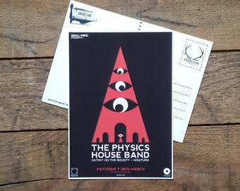 Physics House Band Postcard Gig Poster Mini Print by Or8 Design
