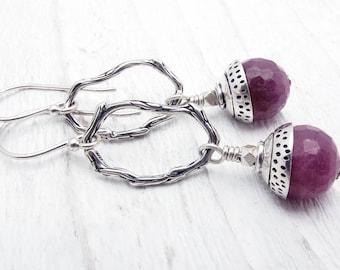 ruby earrings, Ruby gift, July birthstone earrings, ruby jewelry, luxury earrings, July birthstone gift, sterling silver, Hill Tribe silver