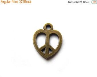 HALF PRICE 10 Bronze Peace Heart Charms