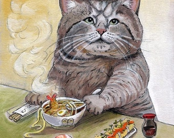 SUSHI CAT Tempura Udon Signed print by Artist Christina Siravo