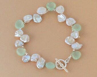 Aqua Blue Chalcedony Keshi Pearl Bracelet, Beach Wedding Jewelry, Beach Bridal Jewelry, Beach Bridesmaid Gift, Beach Wedding Bracelet