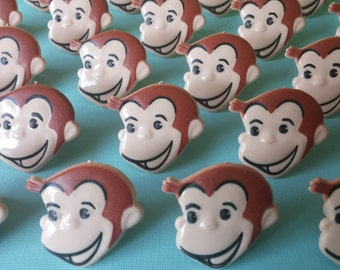 24 Curious George cupcake rings picks cake topper from PBS Kids for an awesome Birthday party, goodie bags Man in the Yellow Hat