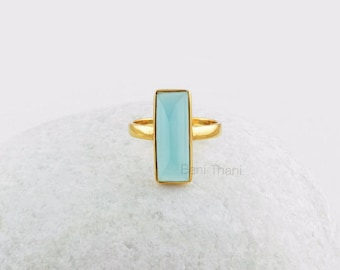 Blue Chalcedony 8x18mm Rectangle Ring, Handmade Sterling Silver Gemstone Ring Jewelry- #BJ7027
