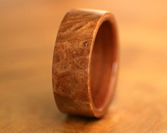 Redwood Burl with Tineo Liner Bentwood Ring - Handmade