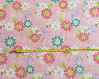 NEW Riley Blake Dream and a Wish floral on pink cotton Lycra  knit fabric 1 yd