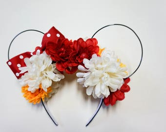 Minnie Mouse-inspired ears//Floral Headband// Theme Park Mouse Ears//Disney-Inspired Ears Headband