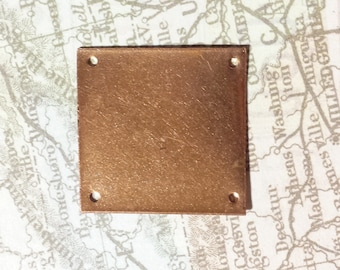 Square Blanks 1 inch With Holes and finished edges from Reclaimed Pure Copper 10 pcs, metal stamping blank, jewelry making supplies handmade