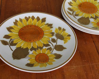 Vintage Sunflower Platter Mod mikasa Cera Stone dinner plates Yellow Brown Orange dinnerware Mid century modern dishes Mad men  dinner table