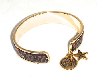 Black Brown Orange Gold Paisley Leather with Charms Gold Cuff