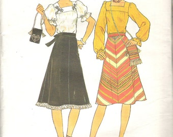 1970's Sewing Pattern - Simplicity 7477 Blouse, Bias Skirt and Bag Size 10