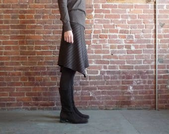 Women's Skirt, Pinstriped Wool, Chocolate Brown, Organic Bamboo, Asymmetrical, A Line, Winter Style, Office, Gift for Her, Casual, Comfy
