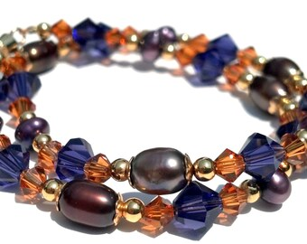 Moroccan Colored Swarovski Anklet, Freshwater Pearls, Purple Orange Brown