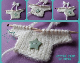 Layette: small knit sweater for scrapbooking-shaped, share, miniature decoration, baby shower, baptism, sweet box