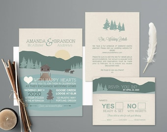 Mountain Wedding Invitations Rustic Nature Wedding Invitation Printable Wedding Invitation Forest Woodlands Template Forest Outdoor Cabin