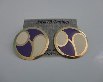 VINTAGE purple ivory gold circle POST EARRINGS