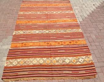 "stripped rug RUSTIC Turkish rug, 9'3"" x 5'4"", Kilim rug, Vintage Turkish kilim rug, Orange area rug, rugs, vintage bohemian rug, Turkish,569"