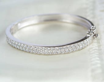 Tiny Cubic Zirconia Baby Bangle with Personalised Gift Box