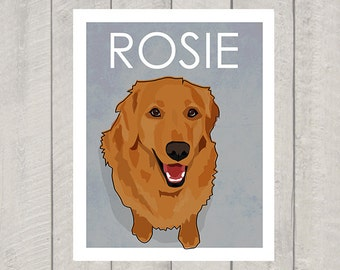 Golden Retriever Art Print - Custom Dog Art