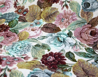 Cream FLORAL TAPESTRY Fabric By the YARD