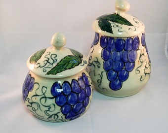 Two Ceramic Canister Or Jar Set, Handpainted With Grape Clusters, Pottery Jars With Lids, Brown & White Sugar Jars, Dry Goods Storage,