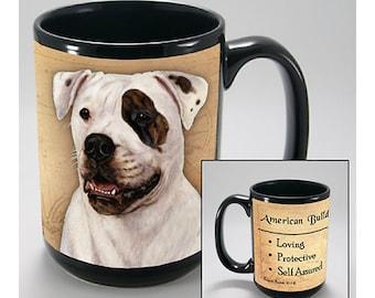 American Bulldog Faithful Friends Dog Breed 15oz Coffee Mug Cup