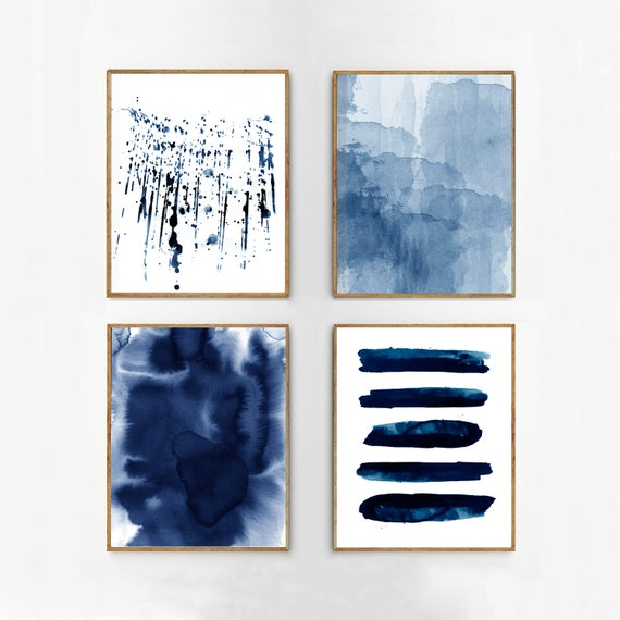 Abstract watercolor set indigo blue wall art large navy prints for Minimal art wall