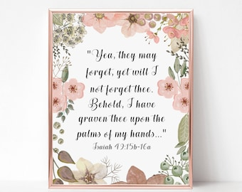 Miscarriage Sympathy Gift Print - Scripture Print -  Infant Loss, Death of Loved One - Death of Child - In Memory of Baby - Isaiah 49
