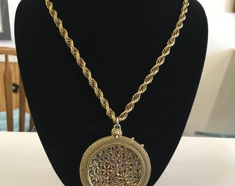 Vintage Brass Necklace with Oversized Magnified Brass Locket