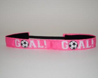 Pink Soccer Headband- Pink Soccer 7/8 inch headband- GOAL pink headband- Goal- no slip headband- soccer Headband- Soccer Ball