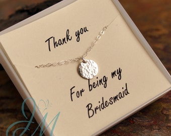 Bridesmaid Necklace - Sterling Silver - Gold Filled - Rose Gold Filled - Hammered Tiny Disc