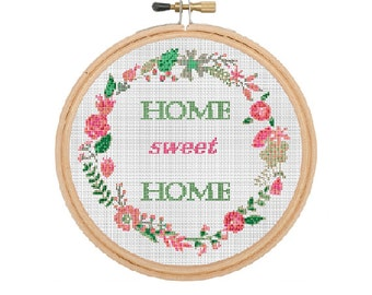 Home Sweet Home Cross Stitch Pattern, Vintage. Home Modern Cross Stitch Pattern, Easy Counted Chart, PDF Format, Instant Download