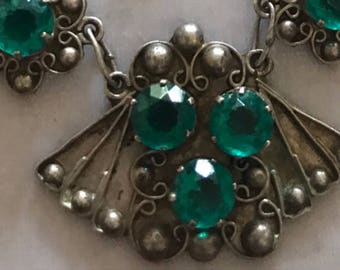 Vintage Mexico Sterling Teal Glass Rhinestones Floral Necklace