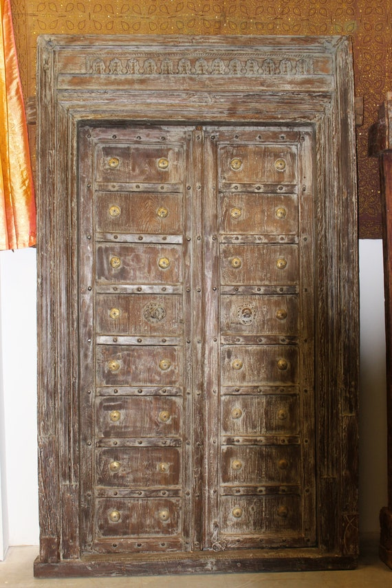 - Indian Antique Entrance Doors Solid Wood Hand Carved Vintage