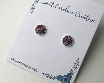 Tiny Round Stud Earrings. Copper Shimmer, Silver outside , 8mm round.