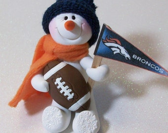 Denver Broncos snowman ornament