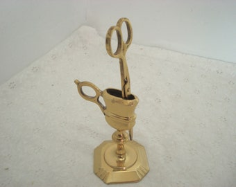 Vintage Brass Scissors Candle Snuffer On Stand