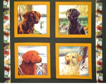 Dogs Fabric,  Retriever Fabric: Black Labrador Retriever, Brown and Golden Retriever Pillow panel 100% cotton Fabric by the panel (SC965)