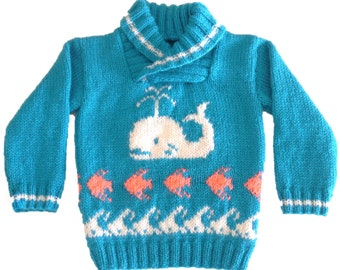 Whale, fish and waves sweater knitting pattern. Ages 1-5 years.  Double knitting (8 ply) yarn.