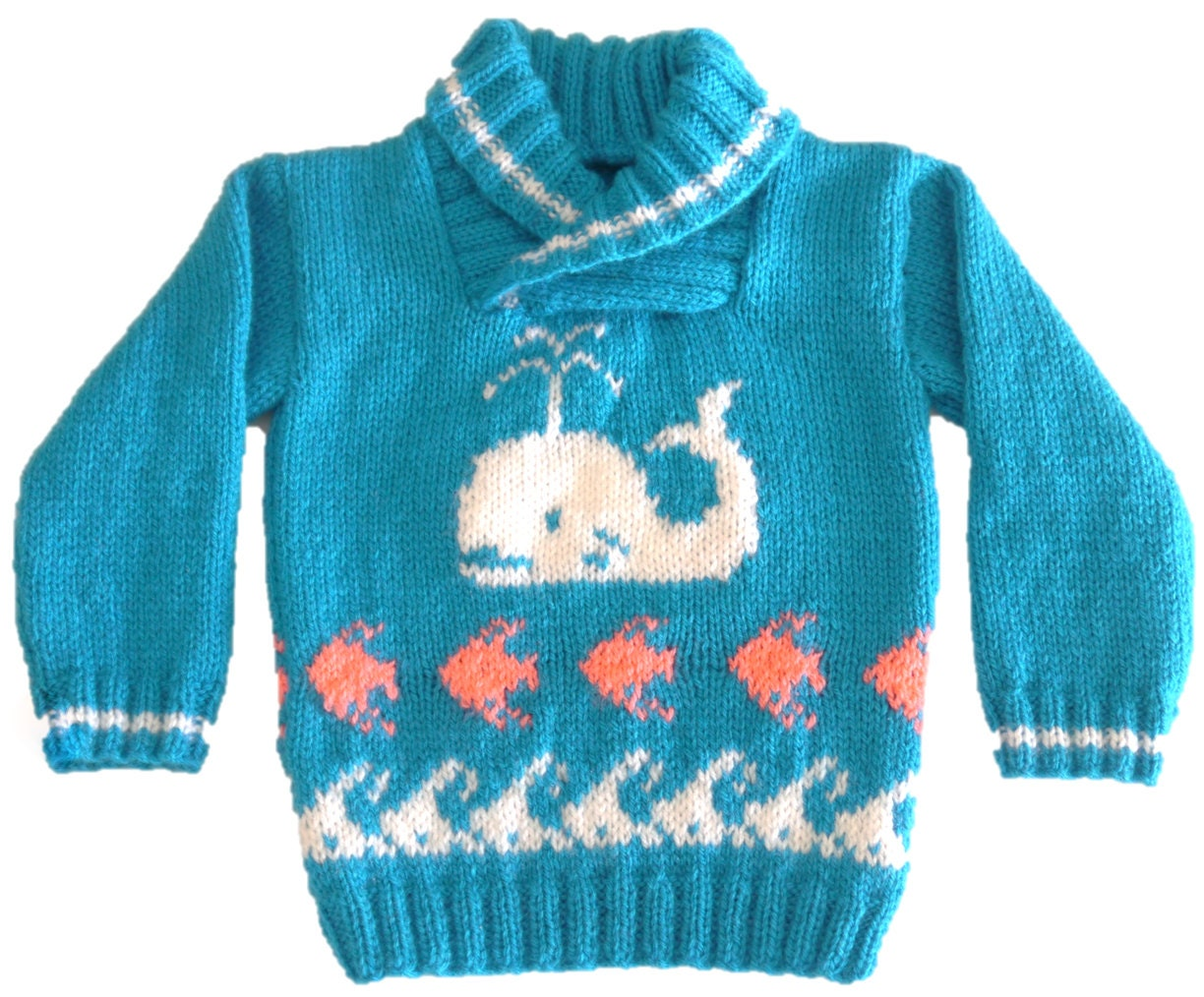 Knitting Pattern for Sweater with Whale Fish and Waves
