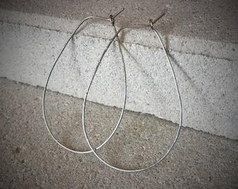 Silver Teardrop Earrings / Silver Hoops / Silver Hoop Earrings / Thin Silver Hoops / Textured Silver Hoop Earrings