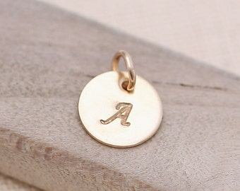 ONE Initial Charm, hand stamped initial, Personalized Charm, Custom Initial Charm, Personalized Necklace, Personalized Jewelry, gold filled
